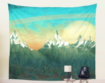 Green Mountain Tapestry | Artistic Scenic Tapestry |Abstract Wall Hanging in Four Sizes, Green Wall Hanging