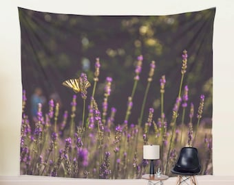 WALL TAPESTRY hanging, Butterfly on Flowers Photography, Nature Tapestry, Lavender Floral Tapestry For Her, Flower Garden Wall Hanging