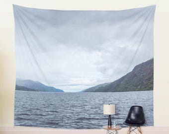 Lake Tapestry | Mountain Tapestry Large Wall Decor | Rainy Scotland Landscape Wall Tapestry | Blue Photo Tapestry