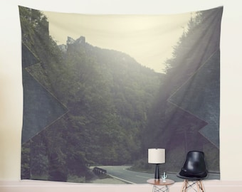 Mountain Tapestry of a Photography Scenic Road Wall Tapestry