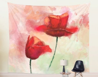 Watercolor TAPESTRY | Large Wall Decor | Poppy Painting Wall Hanging | Red Poppy Tapestry | Floral Wall Tapestry, King Size Tapestry