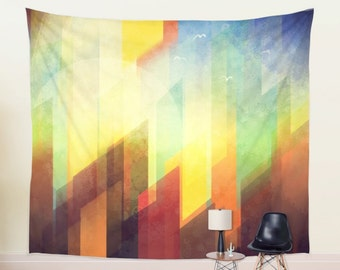 Large Vivid Abstract City in Sunset Landscape Wall Tapestry