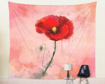 Red Poppy Tapestry for Her Large Botanical Wall Hanging