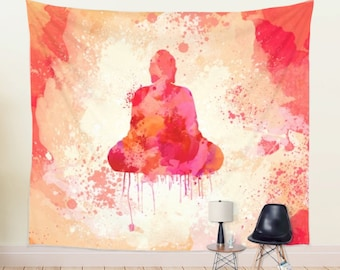 Buddha Tapestry in Red Color Spiritual Meditation Room Wall Hanging
