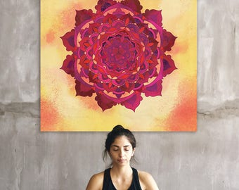 Large Mandala Wall Art Poster for Meditation Room and Boho Decors