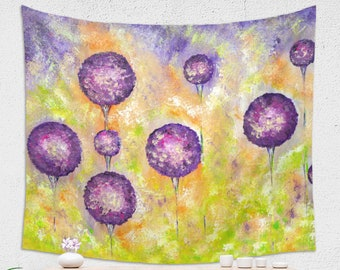 Purple Flower Tapestry Botanical Wall Art in Purple and Green Colors
