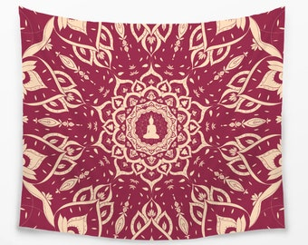 Royal Burgundy Mandala TAPESTRY | Buddha Psychedelic Tapestry for Walls | Hippie Tapestry | Spiritual Lotus Mandala Buddha Tapestry