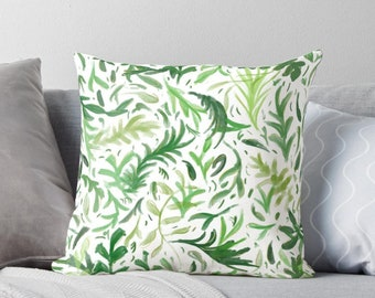 Vivid Green Square Watercolor Leaves Pattern Case from 100% Polyester with Pillow Insert