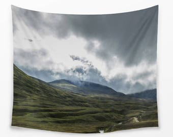 Scottish Mountain Tapestry Photography Wall Hanging in Green and Blue