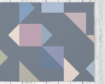 Modern Geometric Shapes Rug With Bonus Non-Slip Rug Pad