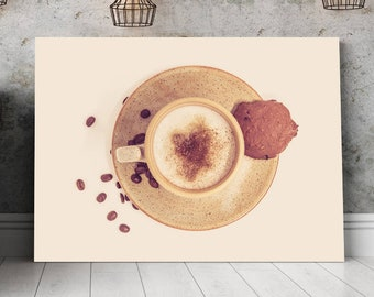 Cappuccino Photography Print for Coffee Lovers Pub and Kitchen Decor