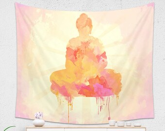 Yellow and Pink Buddha Tapestry | Watercolor Tapestry, Pink Tapestry for Her | Yellow Dorm Room Tapestry, Wall Hanging, Sacred Design