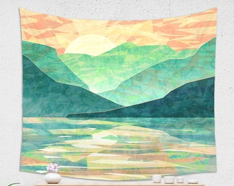 WALL TAPESTRY, Emerald Mountains Tapestry, large wall decor, Spring Sunset Tapestry, Japanese Landscape Wall Hanging