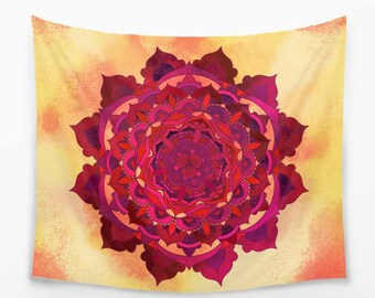 Orange Mandala Tapestry in Bohemian Style for your Boho Home Decor