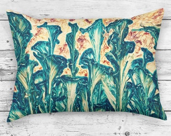 Abstract Rectangle Painterly Throw Pillow of an Impressionist Leaves Painting
