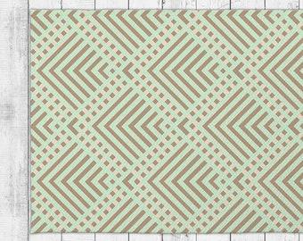Geometric Stripe Abstract Pattern Dobby Rug With Bonus Non-Slip Rug Pad