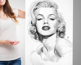 MARILYN MONROE PRINT | Glamour Monroe Poster | Monroe Watercolor Print | Black and White Art Poster
