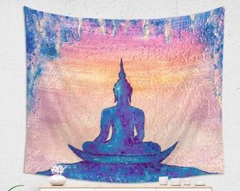 MEDITATING BUDDHA TAPESTRY, Buddha Wall Hanging, Buddha Wall Tapestry, Blue Pink zen Tapestry, Meditation Room Decor, King Size Tapestry