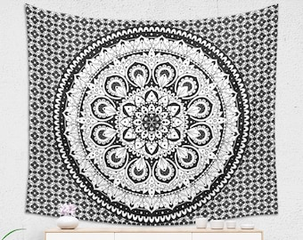 Black and White Tapestry with Traditional Mandala Design Zen Home Decor