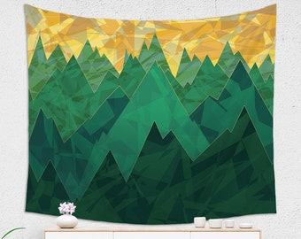 Vivid Mountain Tapestry Abstract and Inspired Scenic Design on Wall Tapestry for Hikers or Nature Lovers
