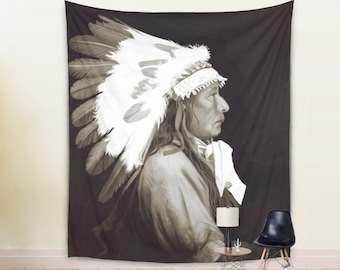 WALL TAPESTRY hanging, Native American Chief Tapestry, brown Native King Size Tapestry , Chieftain Painting Tapestry, Native Wall Hanging