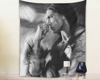 Native American Tapestry in Black and White Colors by Thubakabra
