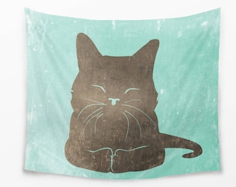 Cute Cat Wall Tapestry for Children Made of  100% Lightweight Polyester