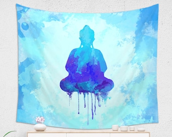Blue Watercolor Buddha Wall Tapestry for Meditation Made of 100% Lightweight Polyester