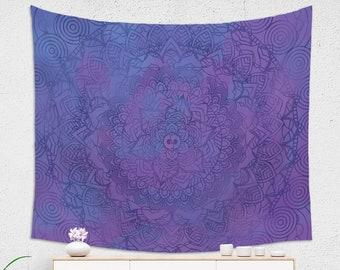 Boho Ultra Violet Mandala Wall Tapestry for Her