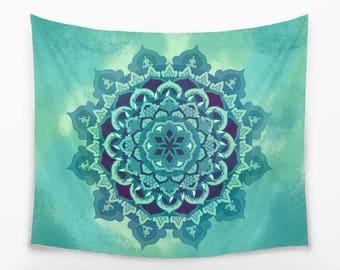 Green Boho Mandala WALL TAPESTRY | Large Fabric Wall Decor | Energetic Mandala Tapestry | Psychedelic Tapestry Wall Hanging