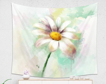 Watercolor Daisy WALL TAPESTRY | Daisy Painting Large Wall Decor | Floral Tapestry | Gift For Her | Happy Daisy Wall Hanging