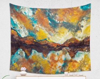 Morning Mountain Tapestry Abstract Landscape Wall Hanging for Her