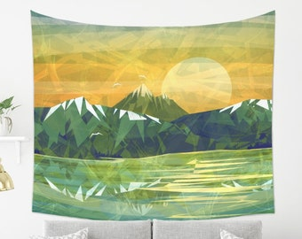 Rocky Mountain Tapestry in Abstract Style | Yellow and Green Landscape Tapestry | Inspired Landscape Art Modern Tapestry