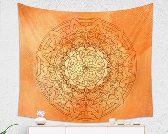 Large Orange Watercolor Mandala Tapestry Printed on 100% Lightweight Polyester