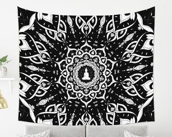 Black and White Mandala Tapestry | Modern Wall Tapestry | Large Fabric Wall Decor | Black and White Wall Hanging