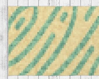 Yellow and Green Pixel Rug Minimalist Floor Design With Bonus Non-Slip Rug Pad