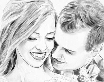 Couple Portrait from Photo Semi Realistic Digital Watercolor Painting Anniversary Gift by Thubakabra
