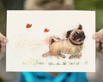 LARGE wall ART Funny Pug PRINT, Running Happy Pug Poster, Children's Illustration, Pugminator Watercolor Print, Decoration for Child's Room