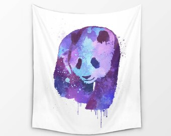Panda Wall Decor | Panda Watercolor Tapestry | Inspired Panda Tapestry | Painted Asian Wild Animal Wall Hanging
