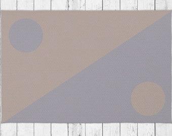 Old School Minimalist Dot Rug in Beige and Purple Color With Bonus Non-Slip Rug Pad