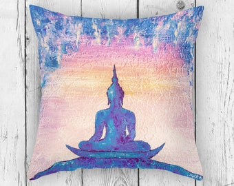 Meditating Buddha Pillow Cushion in Pink and Blue Colors.