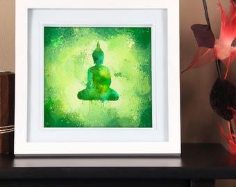 Meditating Buddha Wall Art in Vivid Green Meditation Room Decoration