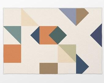 Abstract Geometric Fashion Accent Rug With Bonus Non-Slip Rug Pad