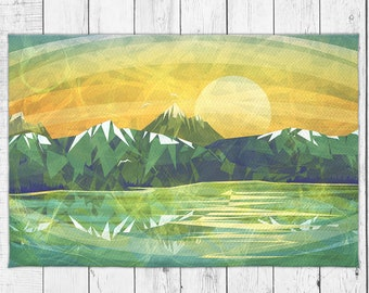Abstract Sunset Landscape Dobby Rug with Bonus Non-Slip Rug Pad