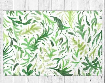 Botanical Rug Green Floral Floor Rug with Leaves Pattern with Bonus Non-Slip Rug Pad