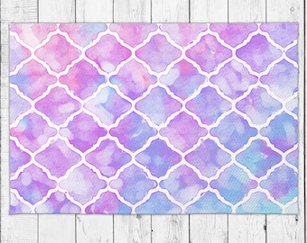 Moroccan Are Rug Colorful Pink and Purple Floor Decor with Bonus Non-Slip Rug Pad