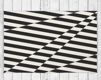 Abstract Stripes Black and Beige Dobby Rug With Bonus Non-Slip Rug Pad