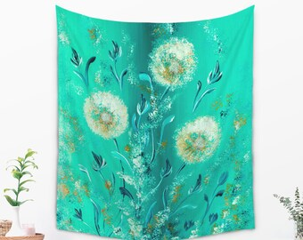 Turquoise Flower Tapestry for Her in Bohemian Style Large Wall Art