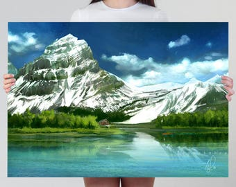 Large Mountain Print or Poster | Relaxing Snow Mountain Poster, snowy mountain decor, green forest