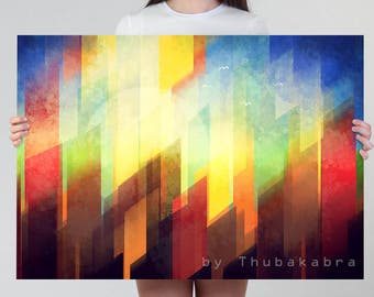 Minimalist Urban Art PRINT Geometric Poster of a City